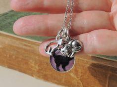 Cat Charm Necklace Black Cat Purple Charm by JustKJewellery, £11.50