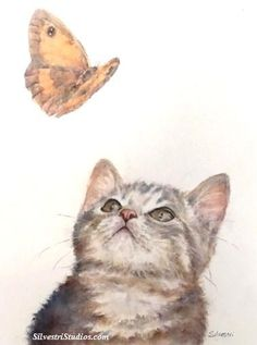 My cat watercolor is available as a cute art print and greeting cards.  Perfect gift for the cat lover in addition to wall art for the nursery.  To view more animal art by Teresa Silvestri, visit www.SilvestriStudios.com  (Photo reference thanks to Nadine Thome and Mal Rayner)