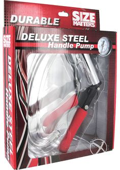 DELUXE STEEL HANDLE PRIMO PUMP - This is no ordinary penis pump! The Deluxe Steel Hand Pump is constructed with heavy duty metal and chrome detail and designed with you in mind. Our signature pumping system is equipped with a built-in pressure gauge to monitor intensity, a vacuum lock connector with a flexible hose that is compatible with any of our cylinders and cushioned support for your gripping pleasure. The Deluxe Steel Hand Pump promotes lengthening, thickening, stamina...