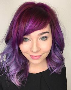 40 Versatile Ideas of Purple Highlights for Blonde, Brown and Red Hair - hair - ombre haare Violet Pastel, Magenta Hair, Red Ombre Hair, Hair Color Purple, Red Purple, Light Purple, Hair Colors, Violet Hair, Burgundy Hair