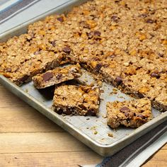 Gluten-Free Oatmeal Chip Bars Recipe -With two busy boys who would rather move around than sit and eat, I needed a gluten-free, hearty, hand-held treat that could double as a quick breakfast, brunch, lunch or snack. This is a favorite of theirs, and I can change it up to accommodate ingredients I have on hand. —Susan James, Cokato, Minnesota