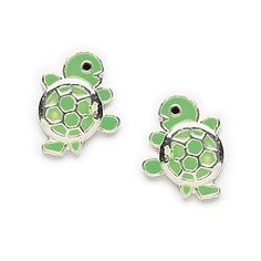 Tiny Green Enamel Turtle Stud Earrings for Adults or Children in Sterling Silver, #7581 sold by Zoe and Piper on Opensky #kidsearrings #turtleearrings #girls #teens