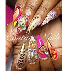 Carnival Nails #nails #nail #fashion #style  #CoutureNails #cute #beauty #beautiful #instagood #pretty #girl #girls #stylish #sparkles #styles  #nailart #art #photooftheday  #nails #love #shiny #notnailpolish #nailswag #getnailedright #prettyonfleek #coverpink #swarovski #nails4today #naillife #hudabeauty #tmblrfeature