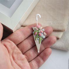 Нежность весны. Дамский зонтик с тюльпанами. Брошь – купить или заказать в интернет-магазине на Ярмарке Мастеров | Брошь зонтик в нежных пастельных оттенках:…