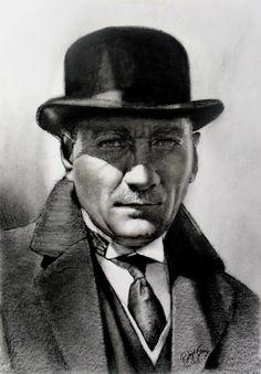 Karakalem Atatürk Portresi , Ressam Rukiye Garip