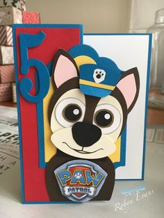 Chase from Paw Patrol Hand made card Punch art Stampin Up