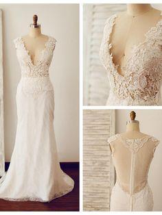 Trumpet/Mermaid Wedding Dress - Ivory Court Train V-neck Lace - AUD $185.89
