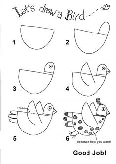 How-to Draw a Bird--love to cut this out of turquoise felt and embellish with multi-colored buttons, embroidered black thread french knots, and twisted silver and copper wire legs