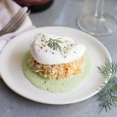 Crab Cakes Benedict with Buttermilk Herb Sauce
