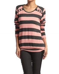 $21.00 PLUS Long Sleeve STRIPED KNIT SWEATER Casual Button Detail P
