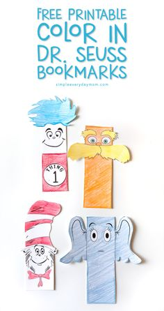 Free Dr Seuss Printable Bookmarks Young Readers Will Treasure Free Printable Dr Seuss bookmarks Dr. Seuss, Dr Seuss Hat, Dr Seuss Week, Dr Seuss Lorax, Bookmarks Kids, Printable Bookmarks, Paper Bookmarks, Dr Seuss Coloring Pages, Kids Coloring
