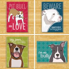 Pit Bull Dog Breed Magnet Set by PopDoggie on Etsy, $19.99. Need this!!