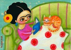 FRIDA KAHLO reading book to orange kitty PRINT from original painting by tascha Cute Paintings, Original Paintings, Frida And Diego, Frida Art, Chicano Art, Painting For Kids, Book Nerd, Cat Art, Love Art