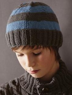 Classic children's hat with block stripes.