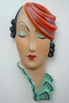 Elegant Deco 20s 30s Style Wall Mask Face Plaque Plaster Chalkware   eBay