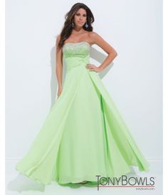 Tony Bowls 2014 Prom Dresses - Light Green Embellished Strapless Ruched Georgette Gown - Unique Vintage - Prom dresses, retro dresses, retro swimsuits.