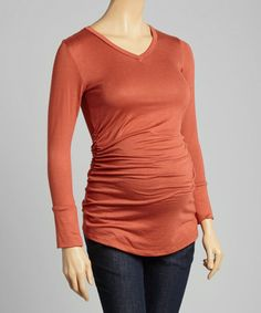 Another great find on #zulily! Rust Ruched Maternity V-Neck Top #zulilyfinds