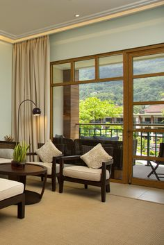 This suite by Savoy Seychelles Resort & Spa equipped with everything you may need for the most comfortable stay. Seychelles Resorts, 5 Star Resorts, Resort Spa, Dining Area, Relax, Living Room, Luxury, Bedroom, Home Decor
