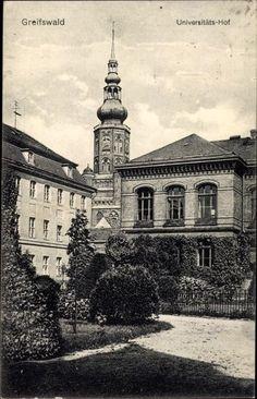 Ak Greifswald in Mecklenburg Vorpommern, Universitätshof, Turm