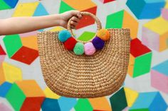 Beach Basket Bag Tote Bag With Colorful Pompoms by Styledaracha Summer Fashion Trends, Trendy Fashion, Beach Basket, Basket Bag, Bunt, Straw Bag, Tote Bag, Handmade, How To Wear