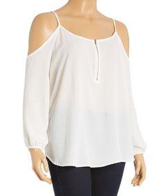 Love this Off-White Zip-Front Off-Shoulder Top - Plus on #zulily! #zulilyfinds