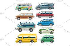 Minivan car vector van auto vehicle family minibus vehicle and automobile banner isolated citycar on white background illustration by RocketArt on @creativemarket
