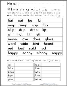 Kindergarten Rhyming Words Worksheet | Free to print (PDF file). CCSS K.RF.2a