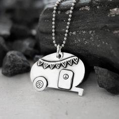 Gypsy Teardrop Camper necklace, sterling silver