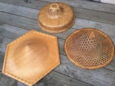 Vtg Asian Chinese Bamboo Hats Straw Coolie Rice Paddy Farmer Hat Decor Lot 3 | eBay