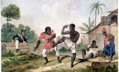 A rendering of African slaves practicing Capoeira. A dance turned into an effective martial art by escaped slaves.. Dancing was a way of hiding and practicing the form of self defense in plain sight by their capture's, the Portuguese.