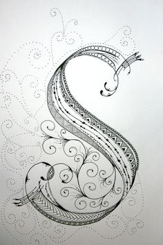 """S"" Tangle.  Tangles and Treasures said, ""I often discount ""Zentangles"" but then I see something like this and I change my mind. Also, for my friends, please note that this is for sale and so could yours. DWN ZenTangle Alphabet Drawing on Bright White Drawing Paper with ""Micron"" Ink and ""Gelly Roll"" Gel Pens.. $19.99, via Etsy."""