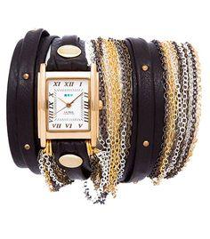 La Mer Black Gold Stud Venice Gold Wrap Watch – Blue Daisy