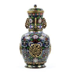 Chinese Cloisonne Enamel Lidded Black Vase, Lotus | Clars Auction Gallery