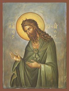 Christian Artwork, Byzantine Art, Orthodox Christianity, John The Baptist, Orthodox Icons, Patron Saints, Religious Art, Painting, Chain Reaction