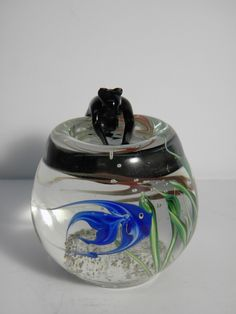 HARD TO FIND ! Correia Studios Cat in a Fish Bowl 3-D Paperweight Artist Signed