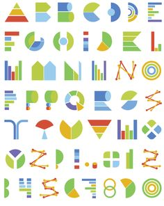 Typeface made of charts and graph elements. By HandMadeFont