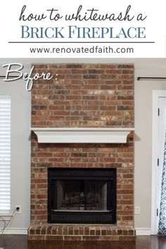 Latest Pictures faux Brick Fireplace Concepts Faux German Smear with Paint! – So much easier than a traditional German smear, you can even corr Fireplace Mortar, White Wash Brick Fireplace, Red Brick Fireplaces, Paint Fireplace, Brick Fireplace Makeover, Farmhouse Fireplace, Faux Fireplace, Paint Brick, Brick Walls