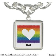 Pride Square Charm Bracelet, Silver Plated