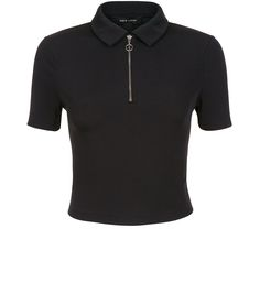 5d681bbf68280f Shop Black Ribbed Zip Front Collared T-Shirt . Discover the latest trends  at New Look.