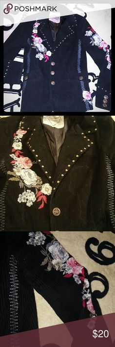 Flower embroidered corduroy blazer Flower embroidered corduroy blazer jacket Has studs on the collar  I had patches on here but took them off so u can kinda see the outlines. Fitted, from the buckle a long time ago Gypsy Festival  Forever 21 Love Stitch Jackets & Coats Blazers