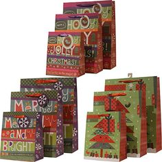 Christmas Gift Bags, Merry and Bright festive holiday des... http://amzn.to/2jlo29o