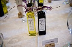 Cute! Olive Oil and Balsamic Vinegar favors. The Perfect Blend with names and wedding date!