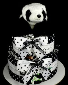 2 Tier Playful Panda Bear Diaper Cake Baby Shower Centerpiece Gift Neutral Zoo Safari Rainforest
