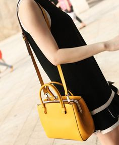 Vintage Yellow Leather Tote Bag
