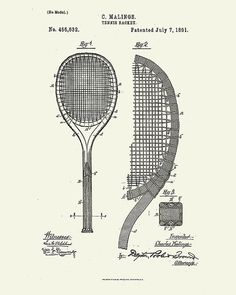 Tennis Poster Inventions of Tennis by WunderKammerEditions