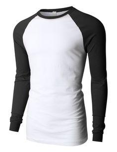 LE3NO PREMIUM Mens Raglan Long Sleeve Baseball Crewneck T Shirt