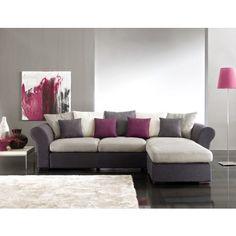 Canapé d'angle gris et prune http://www.cotedeco.com/canapes-fauteuils/canapes-d-angle/canape-angle-adela-gris-prune.html