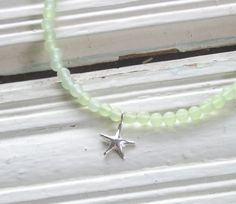 Sterling silver star and tiny sea glass beads - wear it all summer long!
