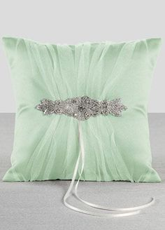 Sparkle Ring Bearer Pillow In Mint