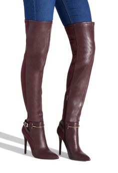 Sexy thigh-high boot featuring a stiletto heel, front faux-leather panel, stretchy neoprene back, and metal hardware accents. Stiletto Boots, High Heel Boots, Heeled Boots, Bootie Boots, High Heels, Thigh High Leather Boots, Brown Thigh High Boots, High Socks, Botas Sexy